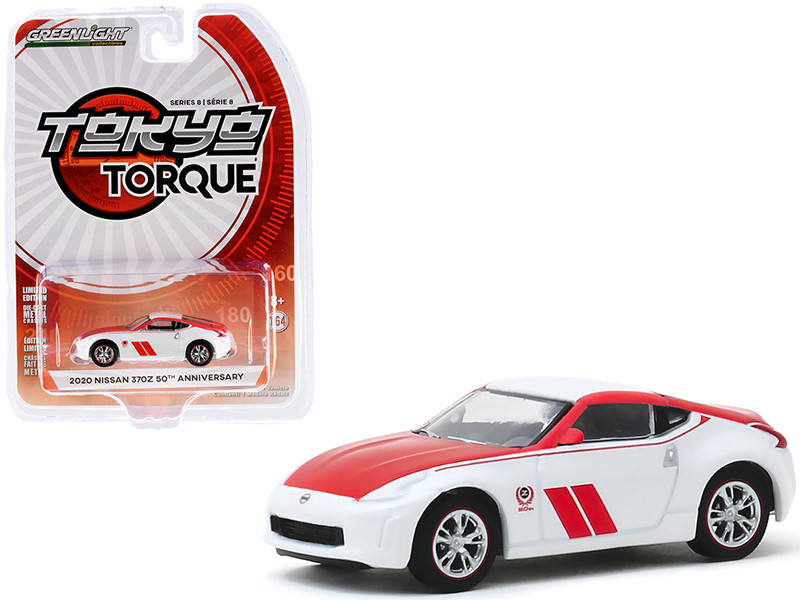 """2020 Nissan 370Z Coupe """"50th Anniversary"""" White and Red """"Tokyo Torque"""" Series 8 1/64"""