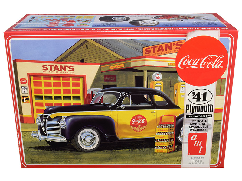 """Skill 3 Model Kit 1941 Plymouth Coupe with 4 Bottle Crates """"Coca-Cola"""" 1/25 Scale Model by AMT"""