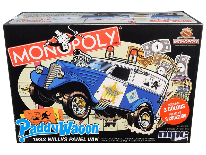 """Skill 2 Snap Model Kit 1933 Willys Panel Paddy Wagon Police Van """"Monopoly"""" """"85th Anniversary"""" 1/25"""