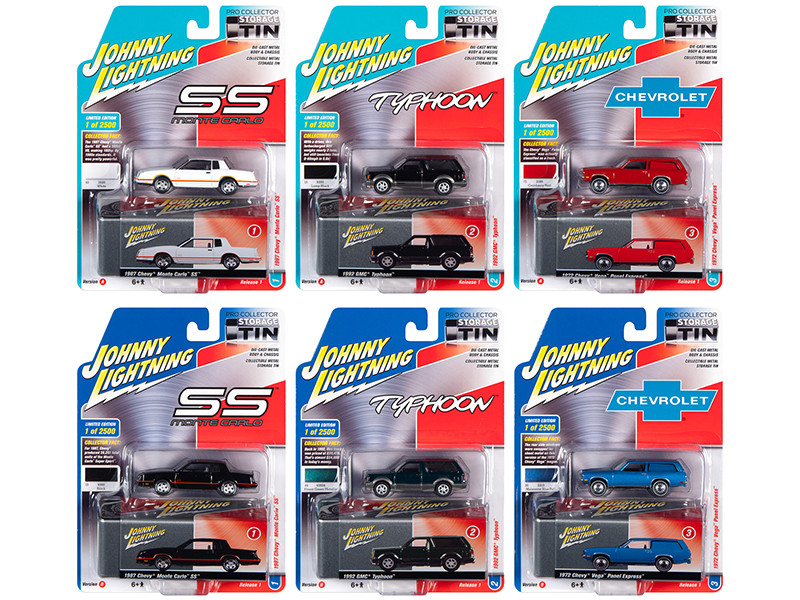 Johnny Lightning Collector's Tin 2020 Release 1, Set of 6 Cars Limited Edition to 2,500 pieces Worldwide 1/64