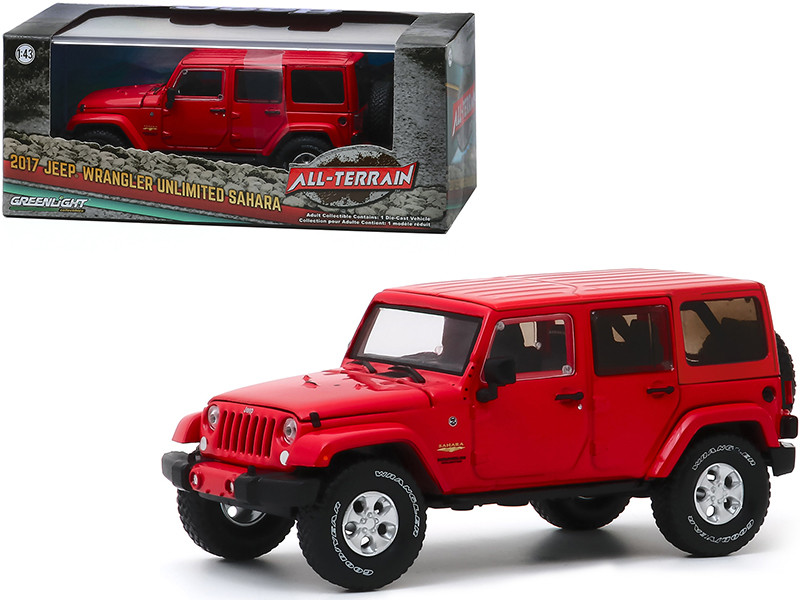 """2017 Jeep Wrangler Unlimited Sahara Firecracker Red Clearcoat """"All-Terrain"""" Series 1/43"""