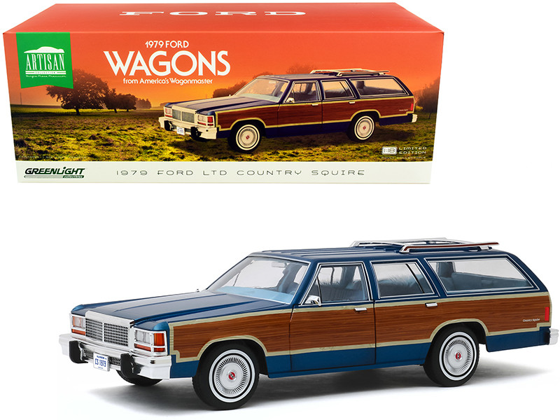 """1979 Ford LTD Country Squire Midnight Blue with Wood Grain Paneling """"1979 Ford Wagons from America's Wagonmaster"""" 1/18"""