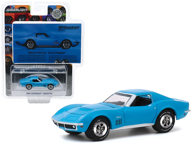 """1969 Chevrolet Corvette Light Blue """"Objects In Mirror Are About To Disappear"""" BFGoodrich Vintage Ad Cars """"Hobby Exclusive"""" 1/64"""
