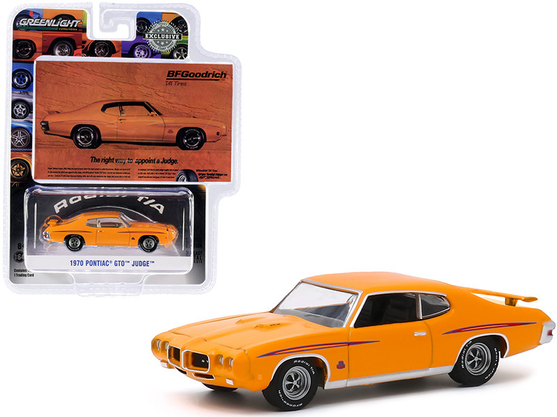 """1970 Pontiac GTO Judge Orange """"The Right Way To Appoint A Judge"""" BFGoodrich Vintage Ad Cars """"Hobby Exclusive"""" 1/64"""
