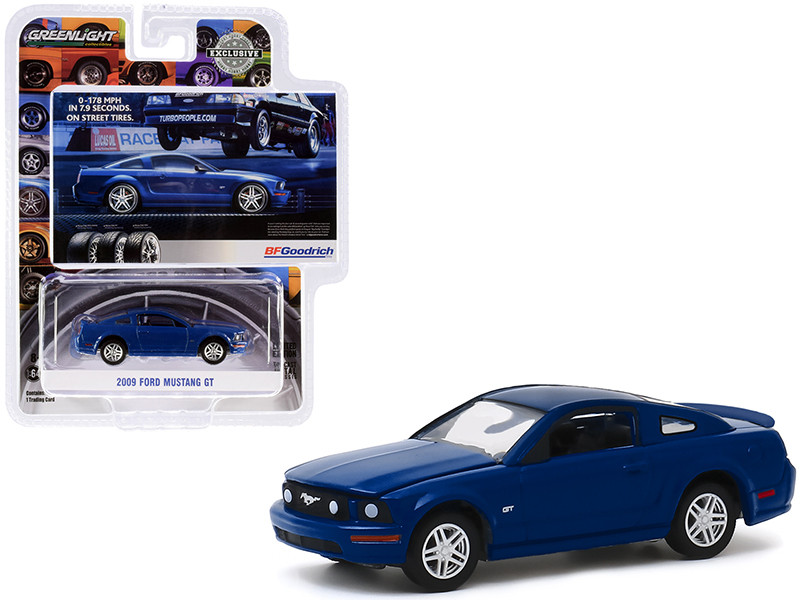"""2009 Ford Mustang GT Dark Blue """"0-178 MPH In 7.9 Seconds. On Street Tires"""" BFGoodrich Vintage Ad Cars """"Hobby Exclusive"""" 1/64"""