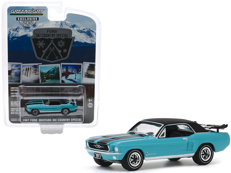 """1967 Ford Mustang Coupe Winter Park Turquoise with Black Stripes and Black Top and a Pair of Skis """"Ski Country Special"""" """"Hobby Exclusive"""" 1/64"""