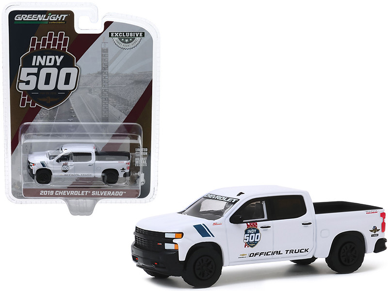 """2019 Chevrolet Silverado 1500 Trail Boss Pickup Truck White """"103rd Running of the Indianapolis 500 Official Truck"""" """"Hobby Exclusive"""" 1/64"""