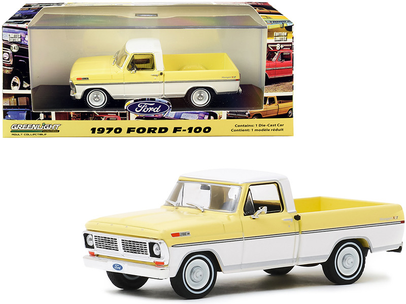 1970 Ford F-100 Ranger XLT Pickup Truck Pinto Yellow and Pure White 1/43