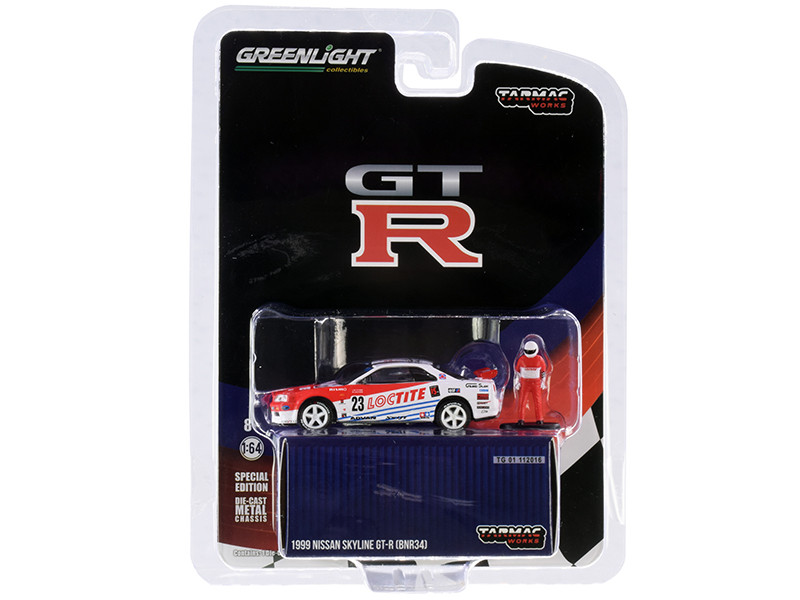 """1999 Nissan Skyline GT-R (BNR34) #23 """"Loctite"""" with Driver Figurine """"Tarmac Works Exclusive"""" 1/64"""