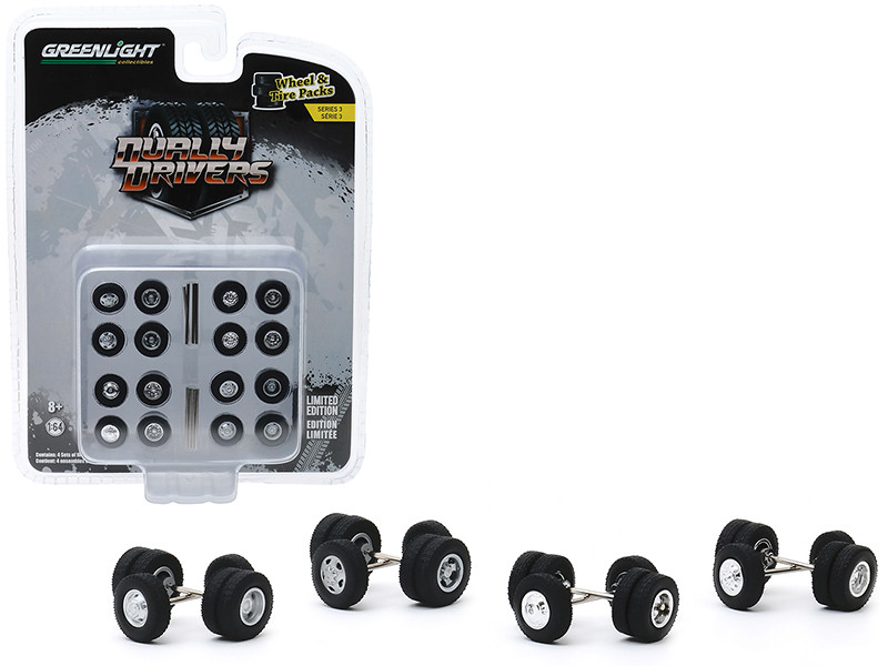 """Dually Drivers Wheels and Tires Multipack Set of 24 pieces """"Wheel & Tire Packs"""" Series 3 1/64"""