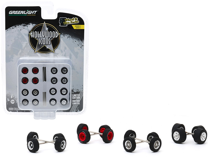 """Hollywood Icons Wheels and Tires Multipack Set of 24 pieces """"Wheel & Tire Packs"""" Series 3 1/64"""