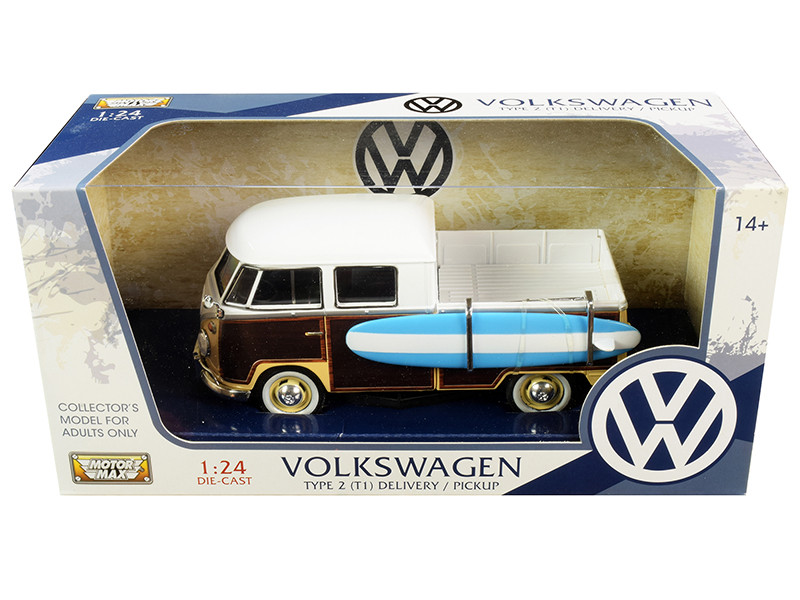 Volkswagen Type 2 (T1) Pickup White and Yellow with Wood Paneling with Surfboard 1/24