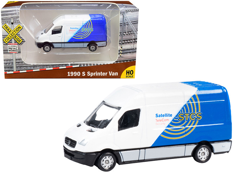 """1990 Mercedes Benz Sprinter Van White and Blue """"STCS Satellite TeleCom Security"""" """"TraxSide Collection"""" 1/87 (HO)"""