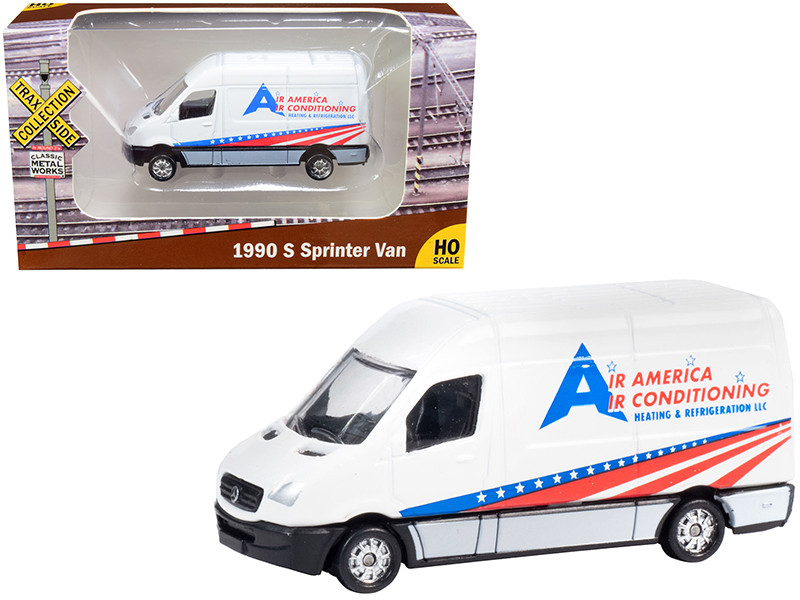 """1990 Mercedes Benz Sprinter Van White """"Air America Air Conditioning Heating & Refrigeration LLC"""" """"TraxSide Collection"""" 1/87 (HO)"""