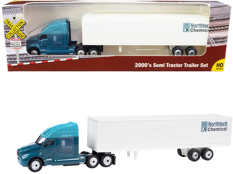 """2000's Semi Tractor Trailer Truck Dark Blue and White """"Northtech Chemical"""" """"TraxSide Collection"""" 1/87 (HO)"""