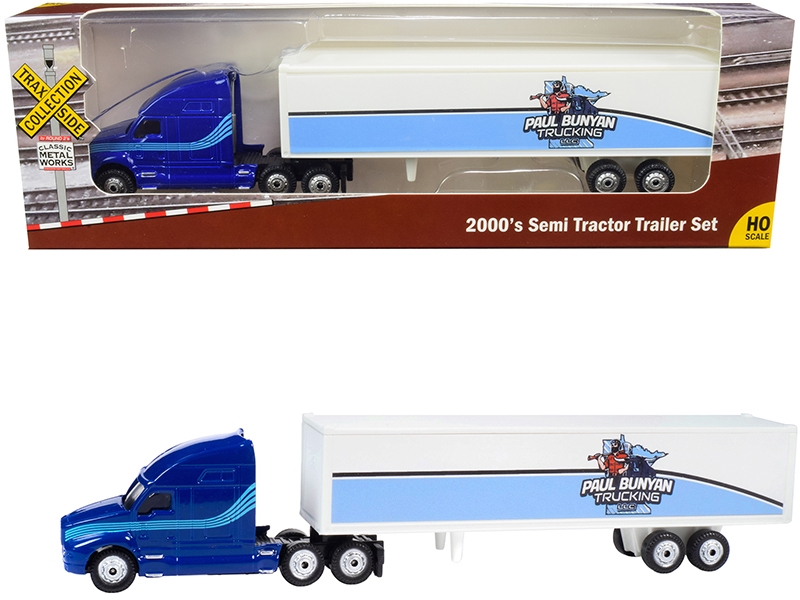 """2000's Semi Tractor Trailer Truck Blue and White """"Paul Bunyan Trucking LLC"""" """"TraxSide Collection"""" 1/87 (HO)"""