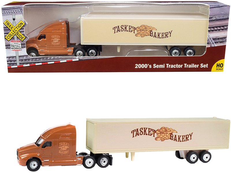 """2000's Semi Tractor Trailer Truck Brown and Cream """"Tasket Bakery"""" """"TraxSide Collection"""" 1/87 (HO)"""