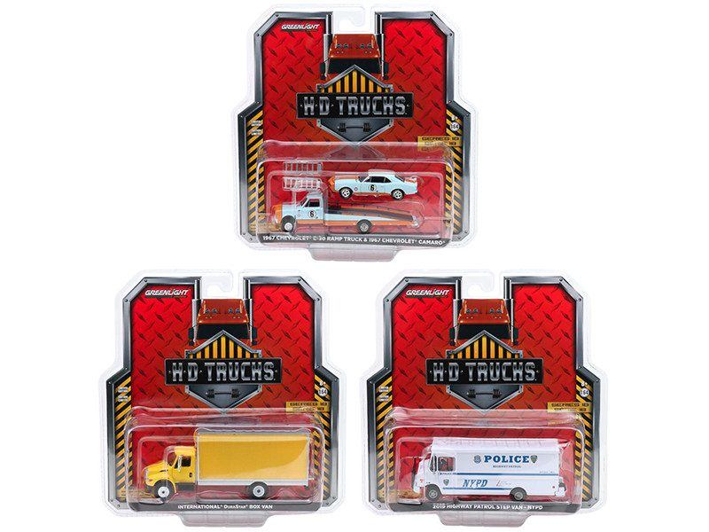 Heavy Duty H.D. Trucks Set of 3 pieces Series 18 1/64 Diecast Models by Greenlight