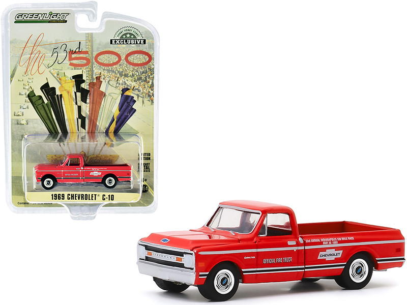"""1969 Chevrolet C-10 Fire Pickup Truck Red """"53rd Annual Indianapolis 500 Mile Race"""" Official Fire Truck """"Hobby Exclusive"""" 1/64"""