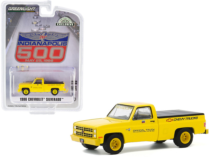 """1986 Chevrolet Silverado Official Pickup Truck with Bed Cover Yellow """"70th Annual Indianapolis 500 Mile Race"""" """"Hobby Exclusive"""" 1/64"""