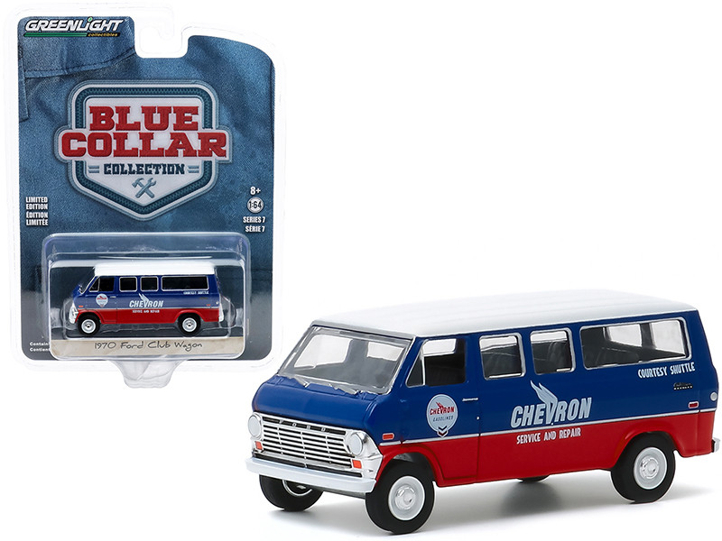 """1970 Ford Club Wagon Van """"Chevron Service & Repair Courtesy Shuttle"""" Blue and Red with White Top """"Blue Collar Collection"""" Series 7 1/64"""