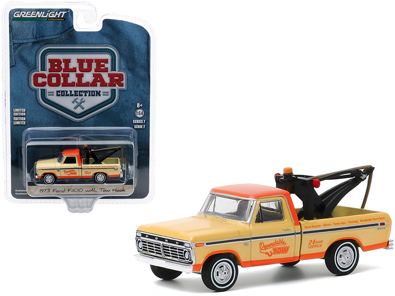 """1973 Ford F-100 Tow Truck with Tow Hook """"Dependable Tow"""" Yellow and Orange """"Blue Collar Collection"""" Series 7 1/64"""