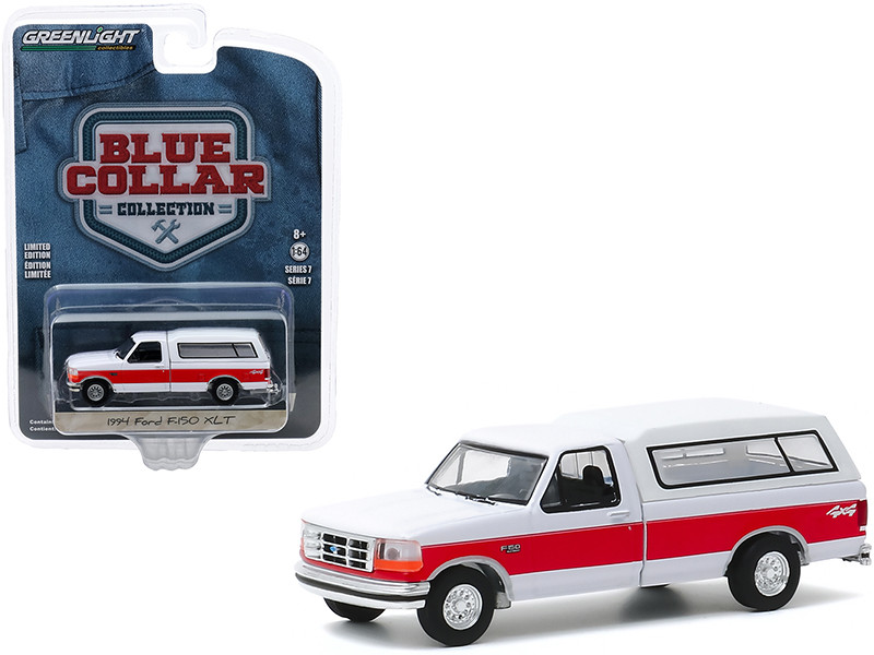 """1994 Ford F-150 XLT 4x4 Pickup Truck with Camper Shell White with Red Stripe """"Blue Collar Collection"""" Series 7 1/64"""
