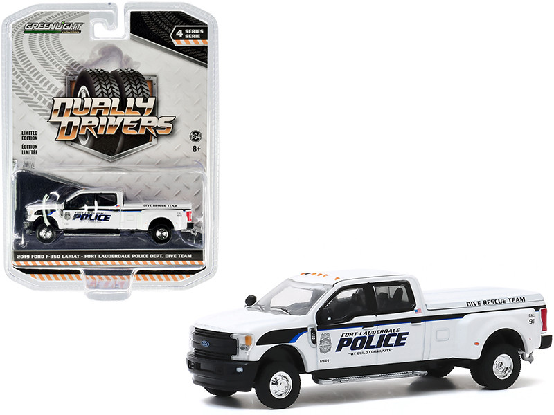 """2019 Ford F-350 Lariat Dually Pickup Truck White """"Fort Lauderdale Police Department"""" Dive Rescue Team (Florida) """"Dually Drivers"""" Series 4 1/64"""