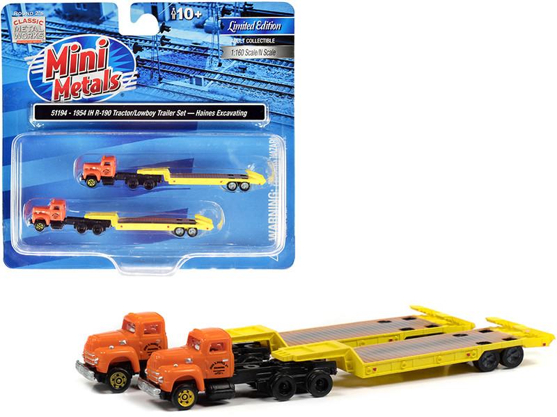 """1954 IH R-190 Truck Tractor with Lowboy Trailer """"Haines Excavating"""" Orange and Yellow Set of 2 pieces 1/160 (N)"""
