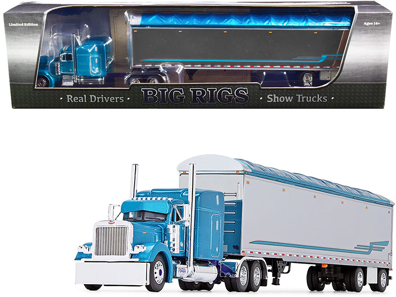 """Peterbilt 379 63"""" Mid-Roof Sleeper Cab with 53\' Walking Floor Trailer """"Pyskaty Bros. Trucking #34"""" Light Blue Metallic and Chrome """"Ice Road Truckers"""" (2007) TV Series 2nd in a """"Big Rig"""