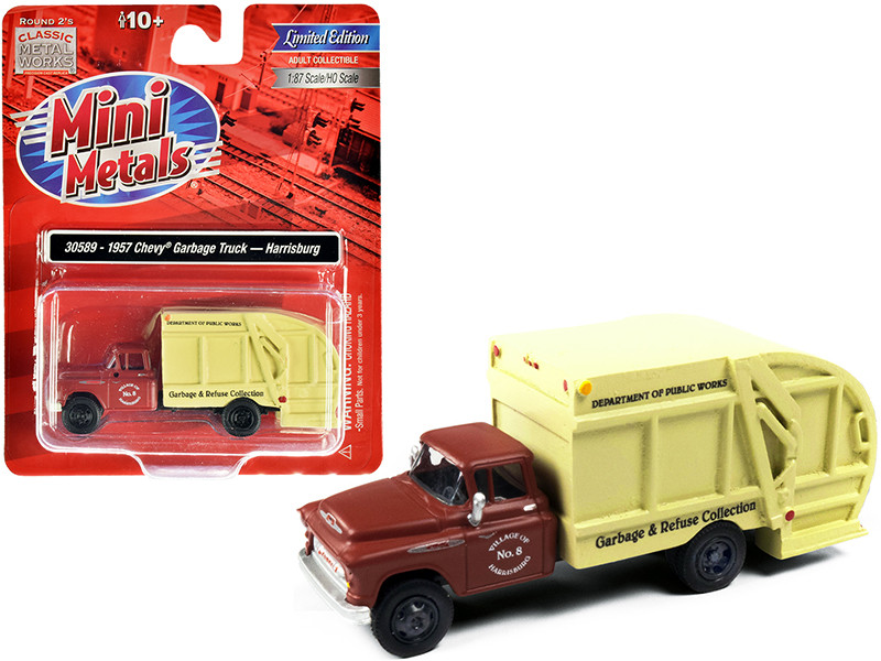 """1957 Chevrolet Garbage Truck """"Harrisburg Department of Public Works"""" Maroon and Yellow 1/87 (HO)"""