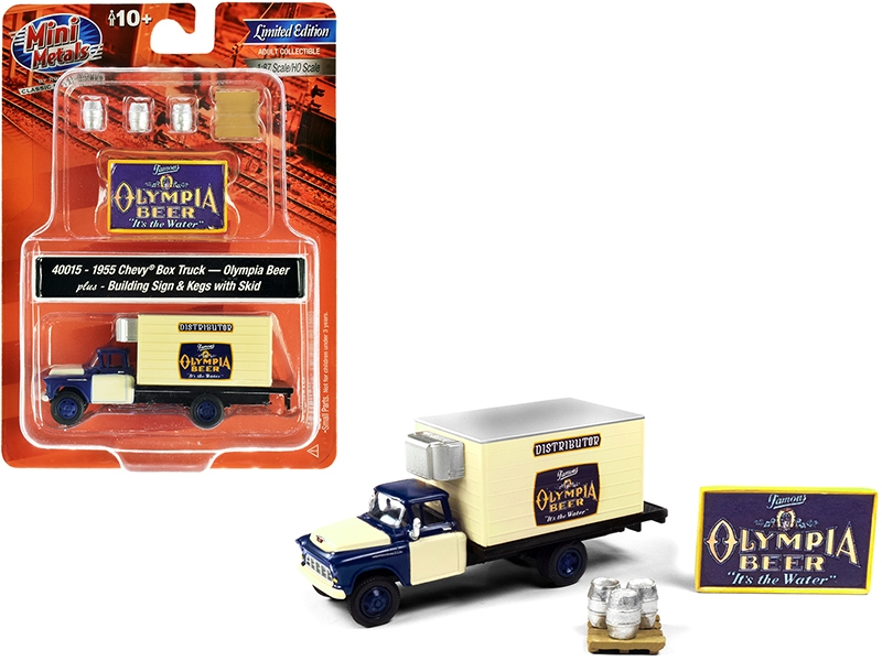 """1955 Chevrolet Box Truck """"Olympia Beer"""" Dark Blue and Yellow with Building Sign and 3 Beer Kegs with Skid 1/87 (HO)"""