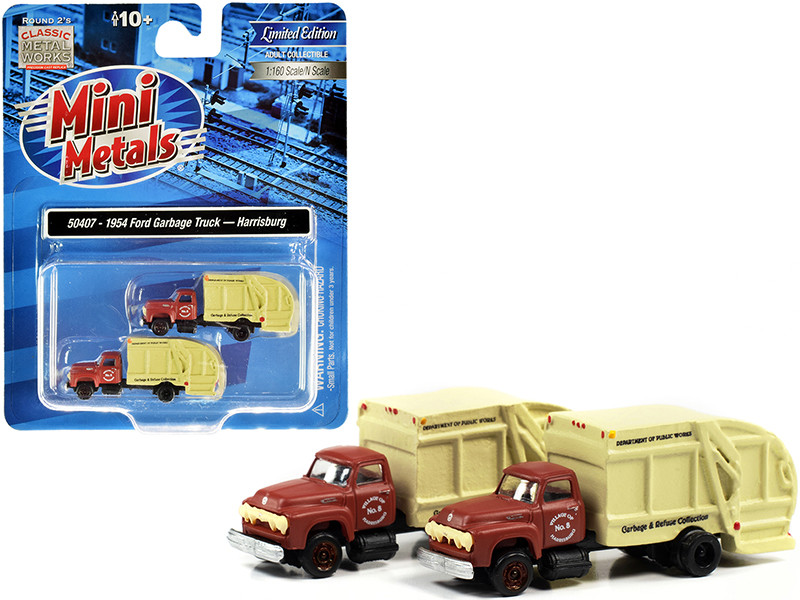 """1957 Chevrolet Garbage Truck """"Harrisburg Department of Public Works"""" Maroon and Yellow Set of 2 pieces 1/160 (N)"""