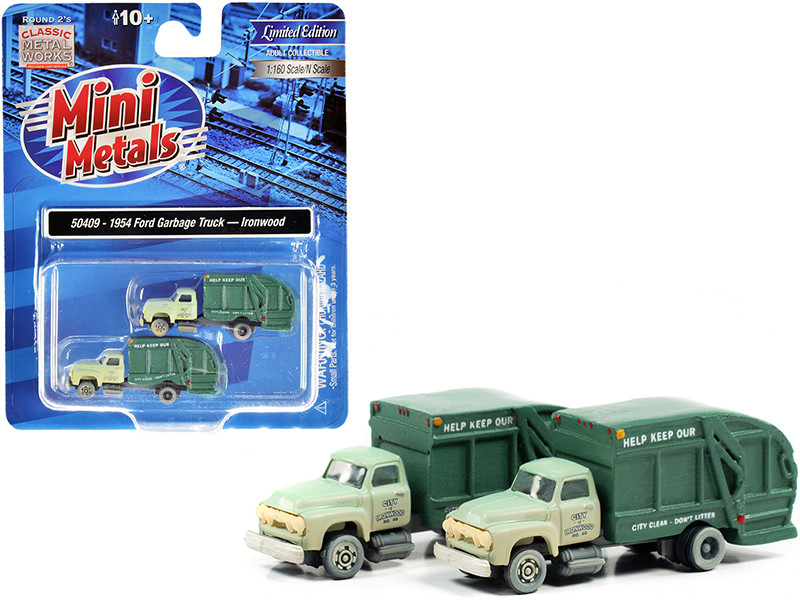 """1957 Chevrolet Garbage Truck """"Ironwood Sanitation"""" Light Green and Dark Green (Dirty) Set of 2 pieces 1/160 (N)"""