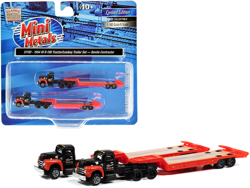 """1954 IH R-190 Tractor Truck with Lowboy Trailer """"Bonito Contractor"""" Black and Red Set of 2 pieces 1/160 (N)"""