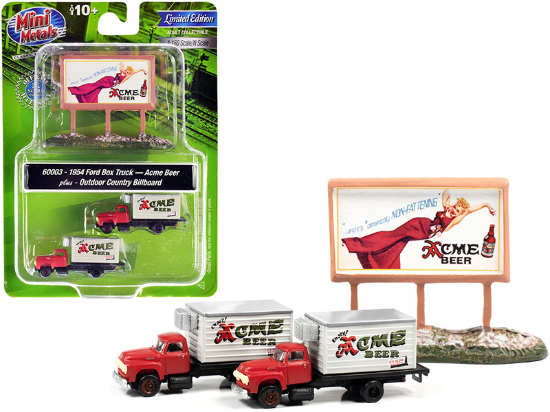 """1954 Ford Box Truck 2 pieces Red and White with Country Billboard """"Acme Beer"""" 1/160 (N)"""