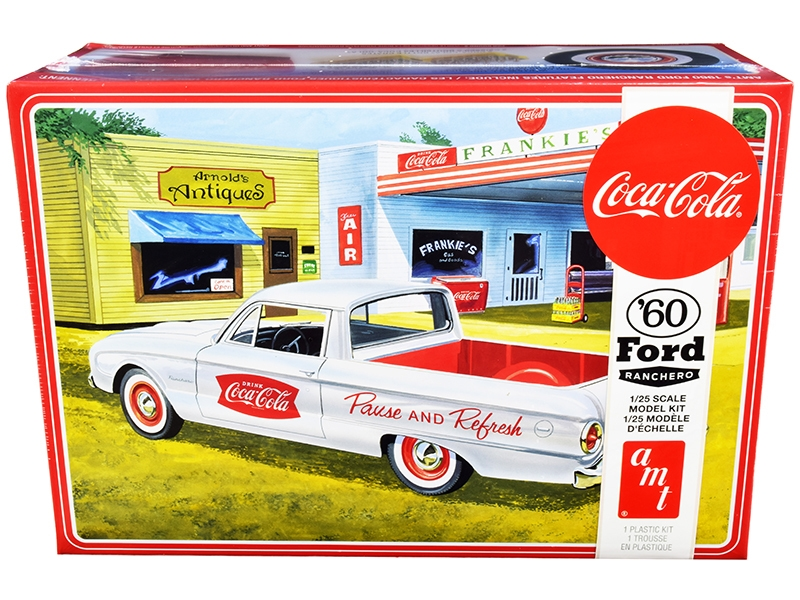 """1960 Ford Ranchero with Vintage Ice Chest and Two Bottle Crates """"Coca-Cola"""" 1/25 Skill 3 Model Kit"""