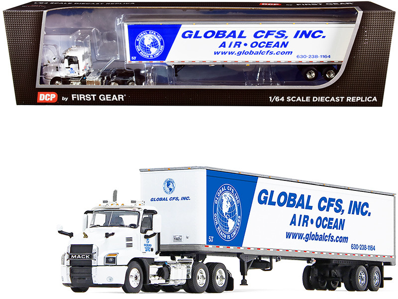 """Mack Anthem Day Cab with 53\' Dry Goods Trailer """"Global CFS Inc."""" White and Blue 1/64"""