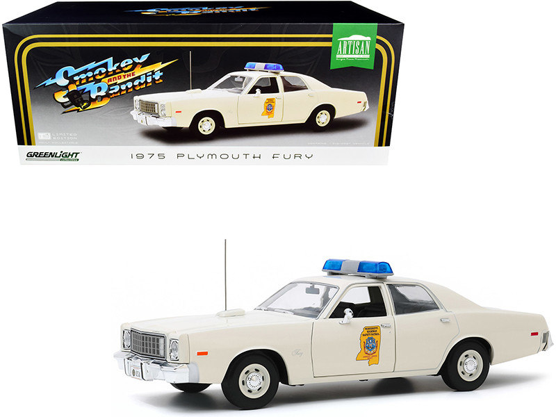 """1975 Plymouth Fury Cream """"Mississippi Highway Patrol"""" """"Smokey and the Bandit"""" (1977) Movie 1/18"""