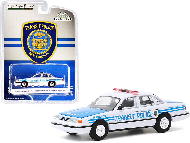 """1994 Ford Crown Victoria Police Interceptor """"New York City Transit Police"""" Ceremonial Unit White and Blue """"Hobby Exclusive"""" 1/64"""