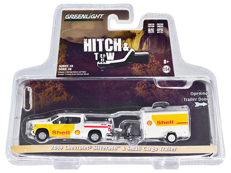 """2019 Chevrolet Silverado 4x4 Pickup Truck and Small Cargo Trailer White and Yellow """"Shell Oil"""" """"Hitch & Tow"""" Series 20 1/64"""