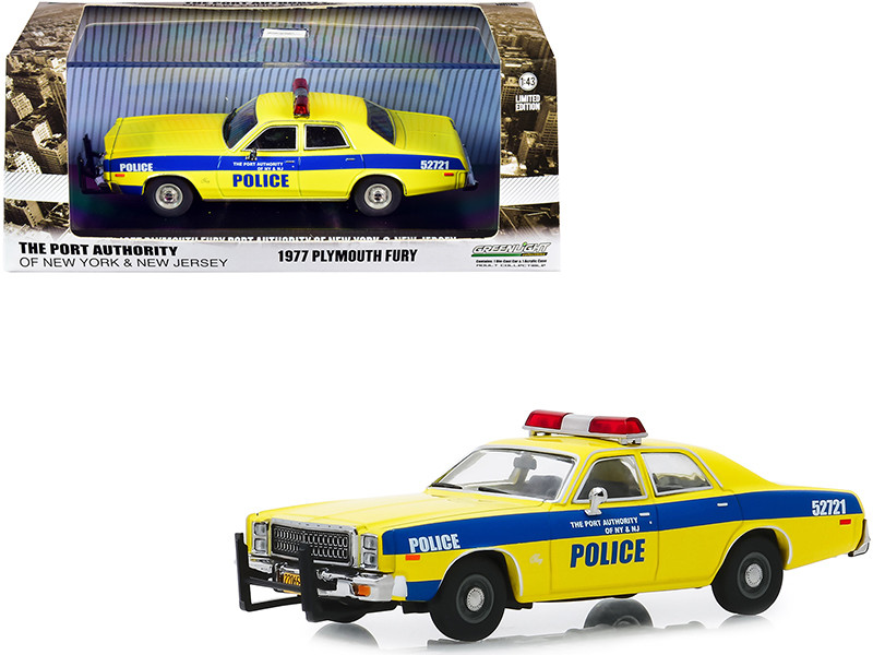 """1977 Plymouth Fury Yellow with Blue Stripes """"The Port Authority Of New York and New Jersey Police"""" 1/43"""