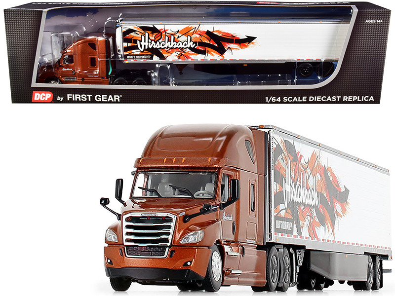 """2018 Freightliner Cascadia High-Roof Sleeper Cab with 53\' Utility Reefer Refrigerated Trailer with Skirts """"Hirschbach"""" 1/64"""