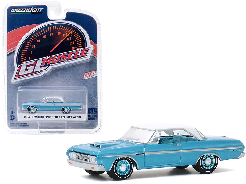 """1964 Plymouth Sport Fury 426 Max Wedge Turquoise with White Top """"Greenlight Muscle"""" Series 23 1/64"""