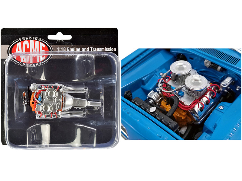 """Engine and Transmission 426 Hemi Replica from """"1969 Plymouth Hemi Barracuda """"Street Fighter"""" 1/18"""