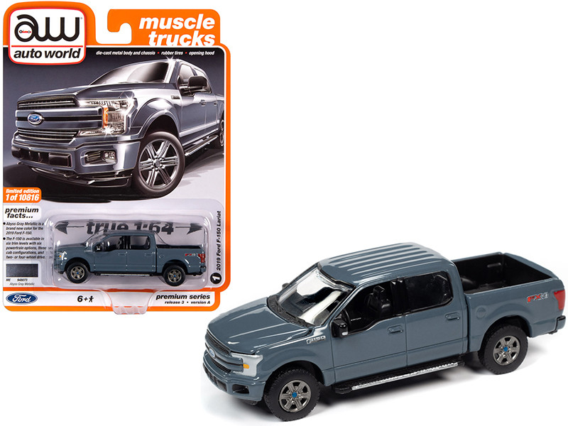 """2019 Ford F-150 Lariat Pickup Truck Abyss Gray """"Muscle Trucks"""" 1/64"""