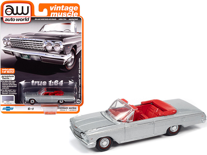 """1962 Chevrolet Impala SS 409 Convertible Satin Silver Metallic with Red Interior """"Vintage Muscle"""" 1/64"""