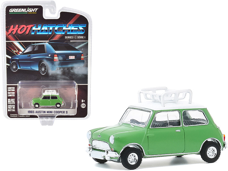 """1965 Austin Mini Cooper S with Roof Rack Green with White Top """"Hot Hatches"""" Series 1 1/64"""