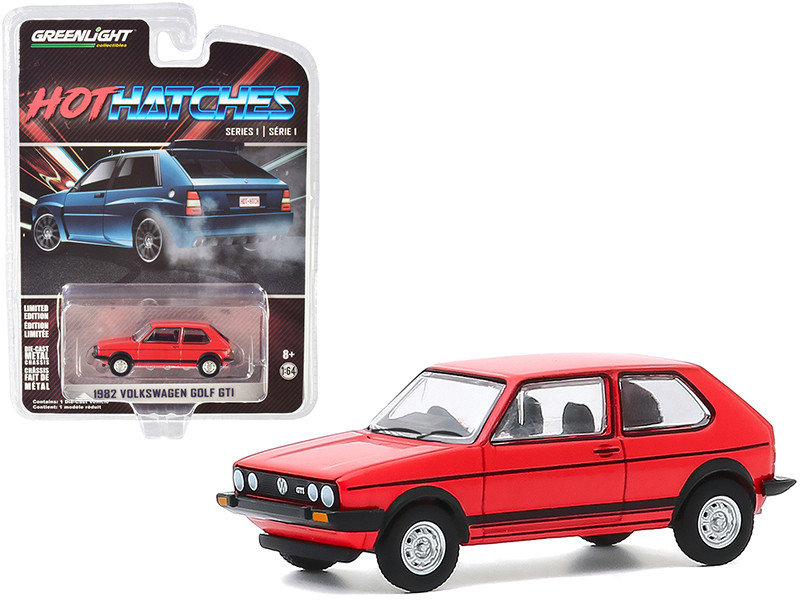 """1982 Volkswagen Golf GTI Red with Black Stripes """"Hot Hatches"""" Series 1 1/64"""