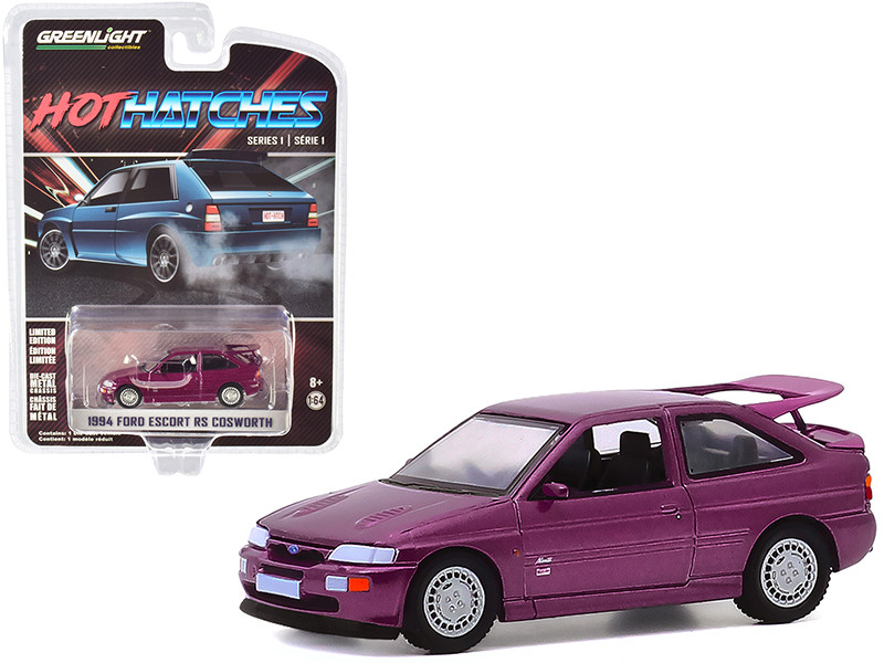 """1994 Ford Escort RS Cosworth Monte Carlo Special Edition Jewel Violet Metallic """"Hot Hatches"""" Series 1 1/64"""
